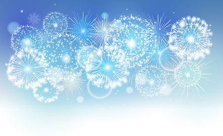 Vector blue holiday fireworks Illustration