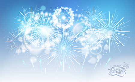 Vector blue holiday fireworks Illustration
