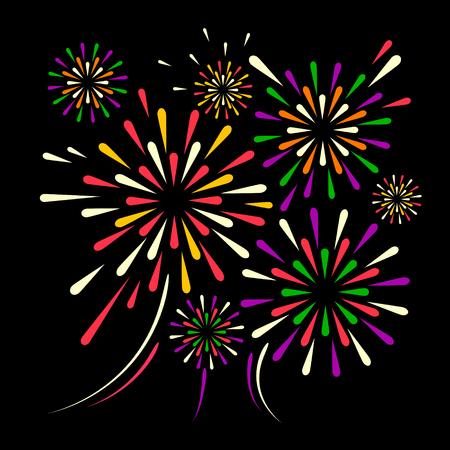 fuegos artificiales de vacaciones de vector sobre fondo negro. ilustración .