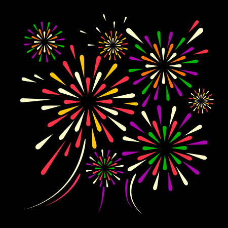 Vector holiday firework on black background illustration.