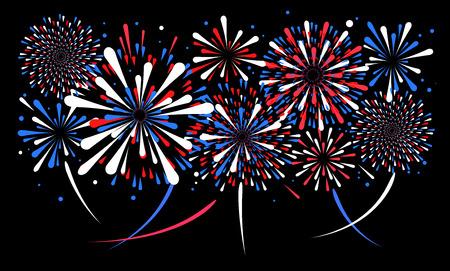 Fuegos artificiales de vacaciones de vector sobre fondo negro. ilustración . Foto de archivo - 92110585