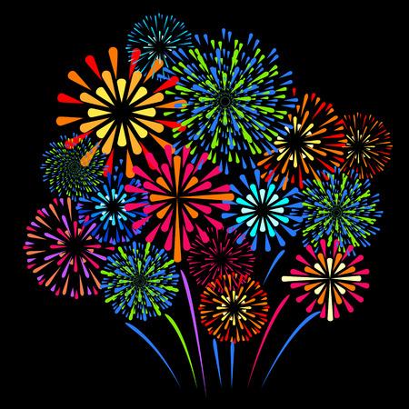 Vector holiday firework on black background illustration.
