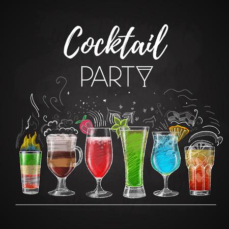 Chalk drawings. Cocktail menu 일러스트