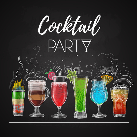 Chalk drawings. Cocktail menu Illustration
