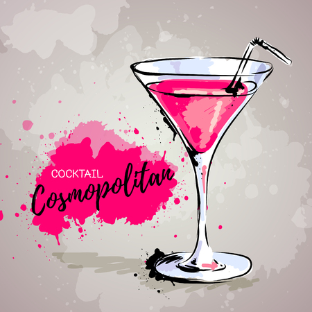 Hand drawn illustration of cocktail cosmopolitan.