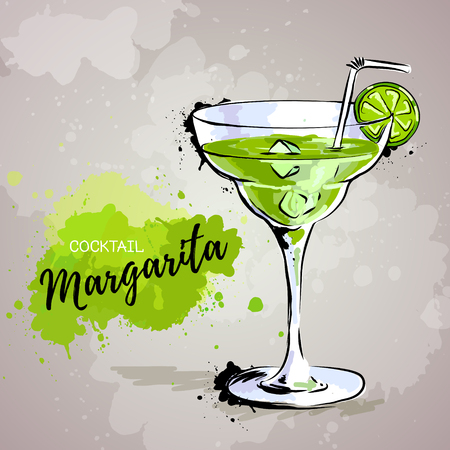 Hand drawn illustration of cocktail margarita Illustration
