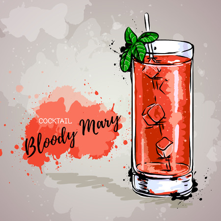 Hand drawn illustration of cocktail bloody mary. Ilustração