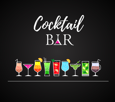 Cocktail icons. Cocktail menu. Different kinds of glasses Çizim