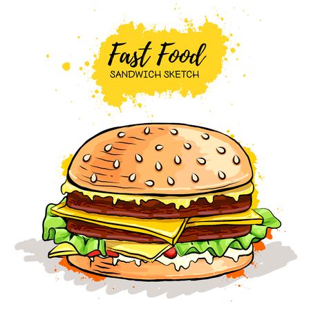 Hand drawn Hamburger or Sandwich. Fast Food sketch