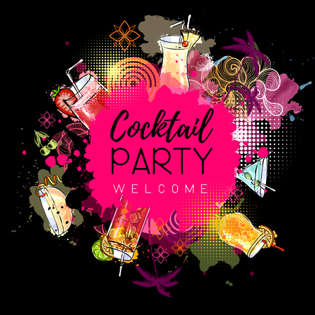 Cocktail party poster design. Cocktail menu Vector illustration.  イラスト・ベクター素材