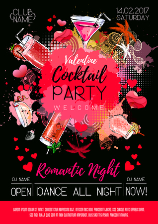 Cocktail party poster design. Cocktail menu Vector illustration. 矢量图像