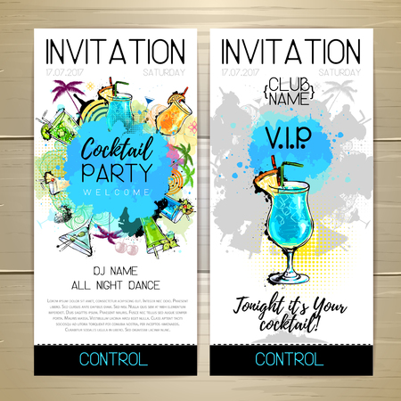 Cocktail party poster. Invitation design. Vector illustration.