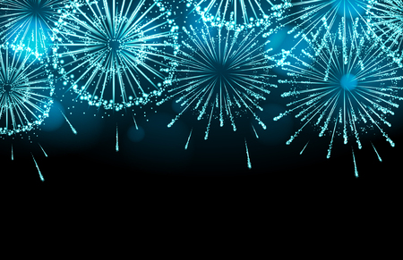 Vector holiday firework on black background. Çizim