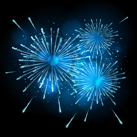 Vector holiday firework on black background. Illustration