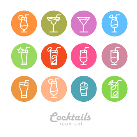 Flat icon design. Isolated Cocktails icons. Illustration