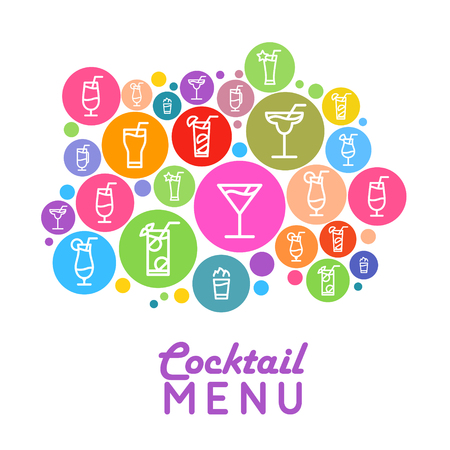 Menu design for cocktail party flat style poster.