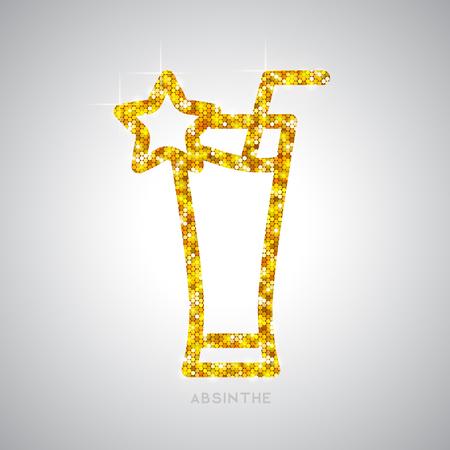 Golden cocktail flat icon. Absinthe