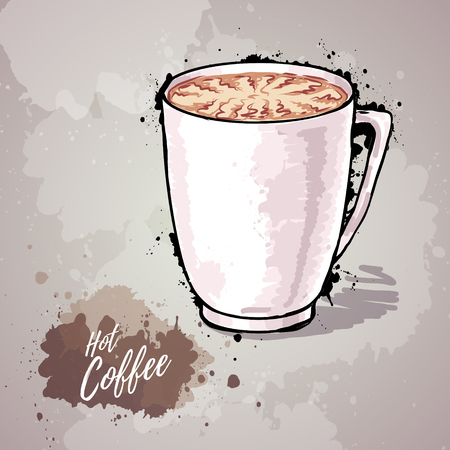 Hand drawn illustration of a cup of coffee or hot chocolate. Illustration