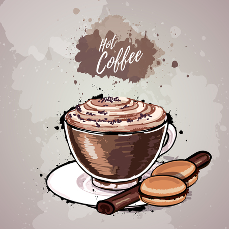 Hand drawn illustration of a cup of coffee or hot chocolate