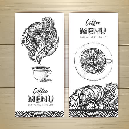 Kaffeekarte Design. Dekorative Skizze einer Tasse Kaffee oder Tee Vektorgrafik