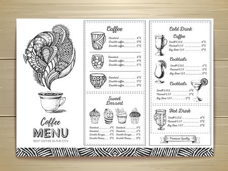 Coffee menu design. Decorative sketch of a cup of coffee or tea