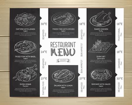 Chalk drawing restaurant menu design Illustration
