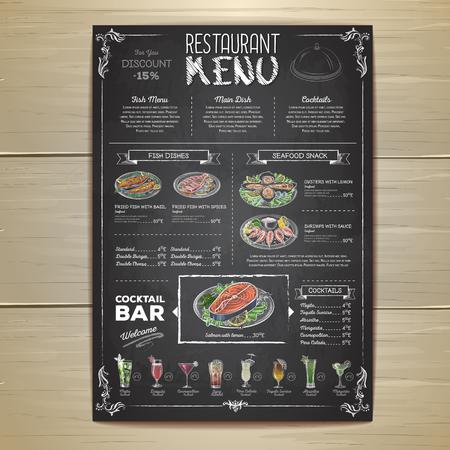 Chalk drawing restaurant menu design Vectores