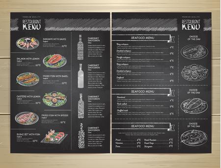 Chalk drawing restaurant menu design Vettoriali