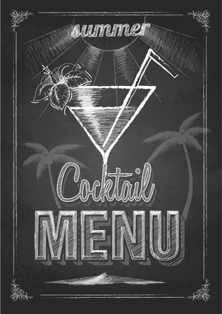 Chalk drawing typography cocktail menu design