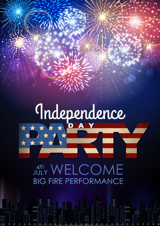 Independence day party poster with holiday firework illustration.