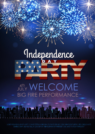 Independence day party poster with holiday firework Vectores