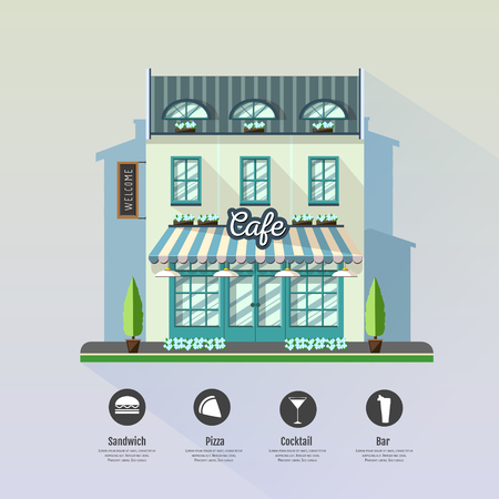 Flat style modern icon design of cafe building. Retro old town design Illustration