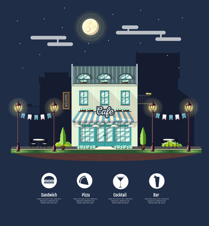 Flat style modern icon design of cafe building. Night scene. Retro old town design Illustration