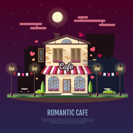 Flat style modern icon design of romantic cafe building. Night scene. Retro old town design