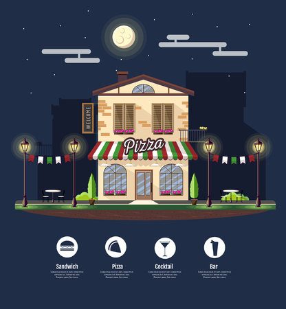 Flat style modern icon design of pizza cafe building. Night scene. Retro old town design