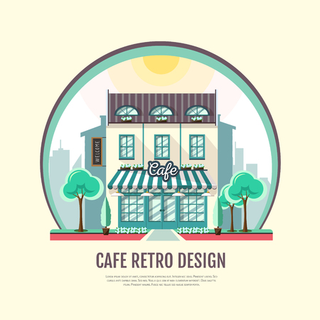 Flat style icon design of cafe building for retro old town on colored illustration.