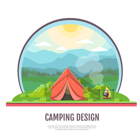 Flat style design of mountains landscape and camping.