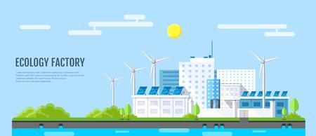 Flat style modern design of ecology factory landscape. Illustration