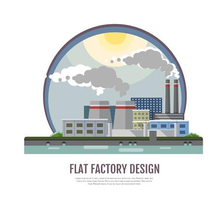 Flat style modern design of industrial factory landscape. Vettoriali