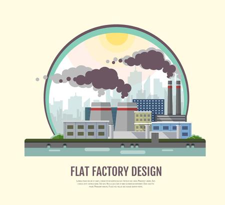 Flat style modern design of industrial factory landscape. Illustration