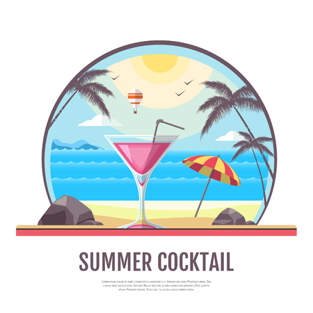 Flat style design of cocktail summer bar. Cocktail menu Illustration