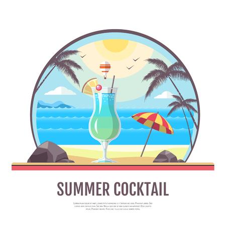 Flat style design of cocktail summer bar. Cocktail menu Illustration