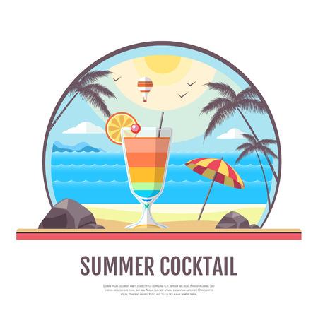 Flat style design of cocktail summer bar. Cocktail menu Ilustração