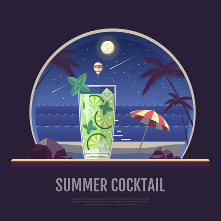 Flat style design of summer beach landscape with cocktail