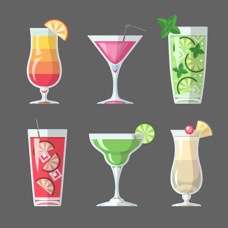Conception de menus de cocktails de style plat Banque d'images - 98880305