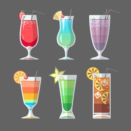 Flat style cocktail menu design  イラスト・ベクター素材