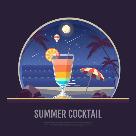 Flat style design of summer beach landscape with cocktail.
