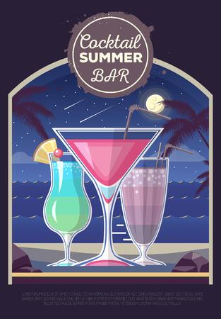 Flat style design of cocktail summer bar. Cocktail menu Çizim
