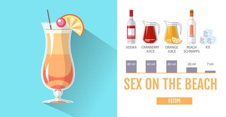 Flat style cocktail menu design. Cocktail sex on the beach recipe Standard-Bild - 98952232