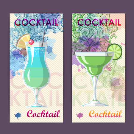 Flat cocktail design on Artistic decorative watercolor background. Cocktail menu  イラスト・ベクター素材